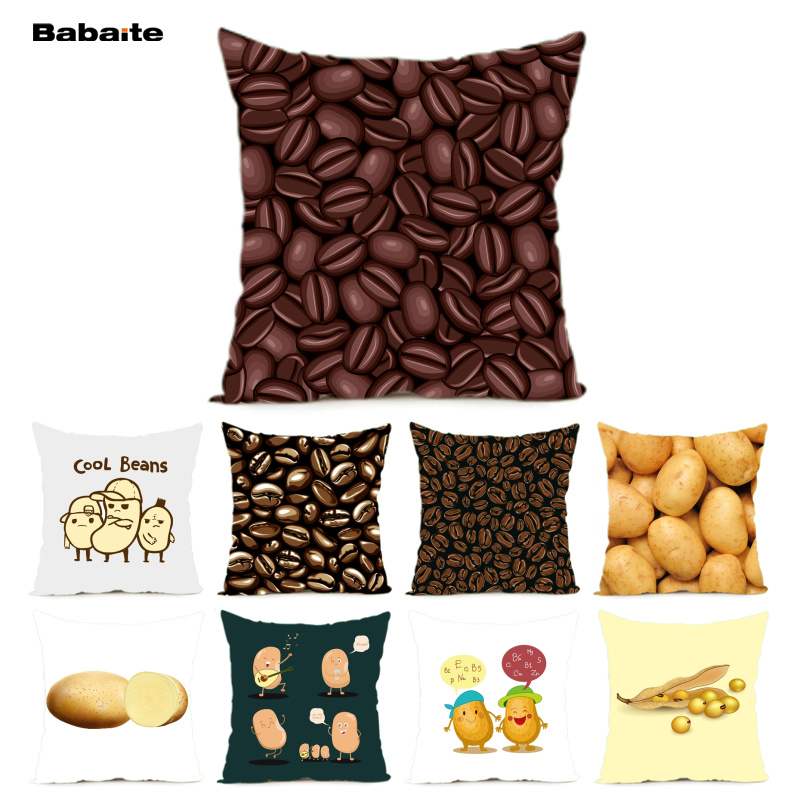 Babaite Coffee Bean Soybean F Standard Cushion Cover Home Decoration Throw Pillow Cover with Nice Zipper