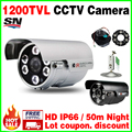 Real 1/3cmos 1200TVL CCTV Color HD Camera Surveillance Outdoor Waterproof Ip66 Infrared IRCUT Night Vision 50M Analog video cvbs