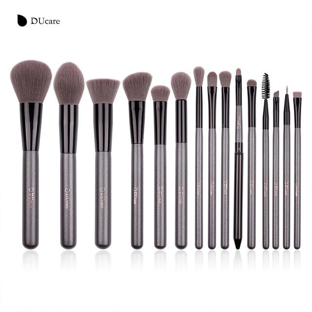 DUcare 15 piezas pinceles de maquillaje profesional en polvo Fundación de sombra de ojos maquillaje cepillo conjunto marca sintético pelo pinceles de maquillaje herramienta