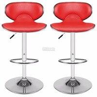1Pair 360 Degree Swivel Bar Chair Faux Leather Kitchen Breakfast Bar Stool Chrome Base Adjustable Lift