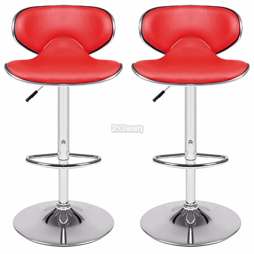 Homdox 1 Pair 360 Degree Swivel Bar Chair Faux Leather Kitchen Breakfast Bar Stool Chrome Base Adjustable Lift Chair N25A* bar chairs stylish high chair bar stool lift swivel minimalist new specials