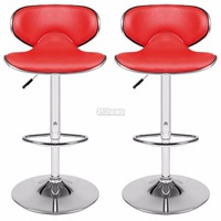 1Pair 360 Degree Swivel Bar Chair Faux Leather Kitchen Breakfast Bar Stool Chrome Base Adjustable Lift