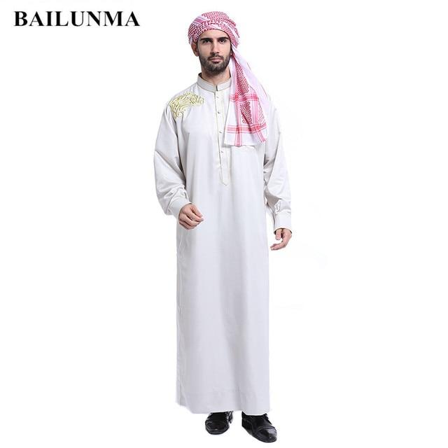 ce43dbc33 € 16.14 10% de DESCUENTO|Moda hombre blanco thobe árabe hombre vestido  islámico hombres ropa saudí BTH804 en Ropa islámica de La novedad y de ...