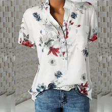 Floral Print Plus Size 5XL Summer Womens Blouses 2019 Top Short Sleeve V neck Tunic Korean office Casual New White Shirt