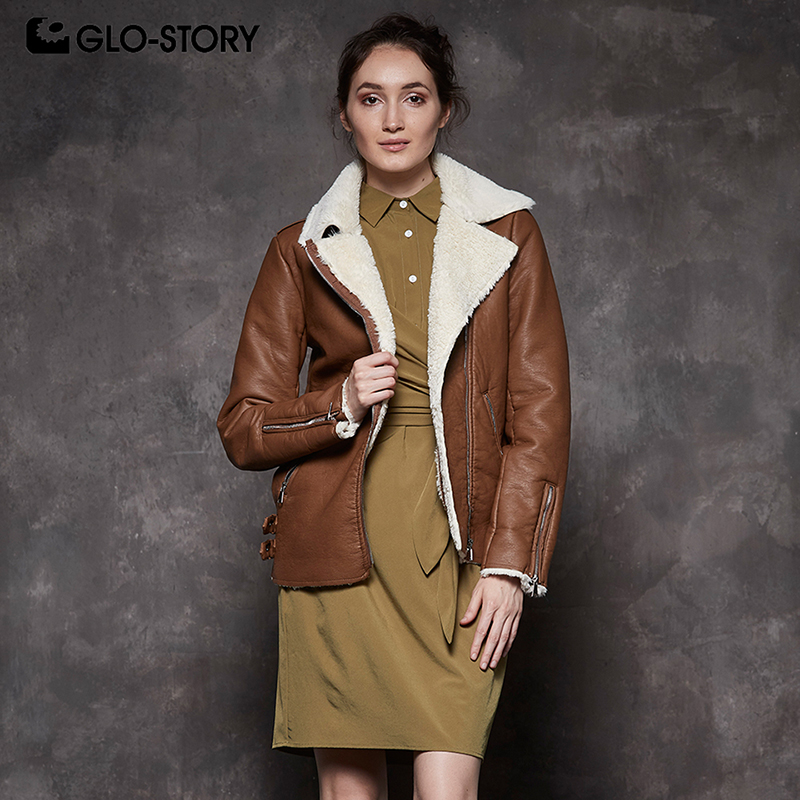 GLO-STORY Woman 2018 Casual Streetwear   Suede   Faxu   Leather   Jackets Women Fur Liner Winter Warm Motor Biker Jacket Coats