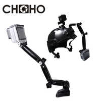 Self Selfie Stick Helmet Extension 3 way Arm Accessories with Buckle Mounts Adhesive for gopro HERO 7 6 5 4 8 Xiaomi Yi 4K SJCAM