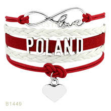 Custom-Infinty Love Poland Heart Charms Bracelets For Women Men Jewelry White Black Red Wax Suede Leather Wrap Bracelets(China)