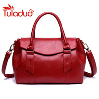 TuLaDuo 2017 New Women Leather Boston Bag Europe Style Simple Handbag Fashion Trend Shoulder Bag Office
