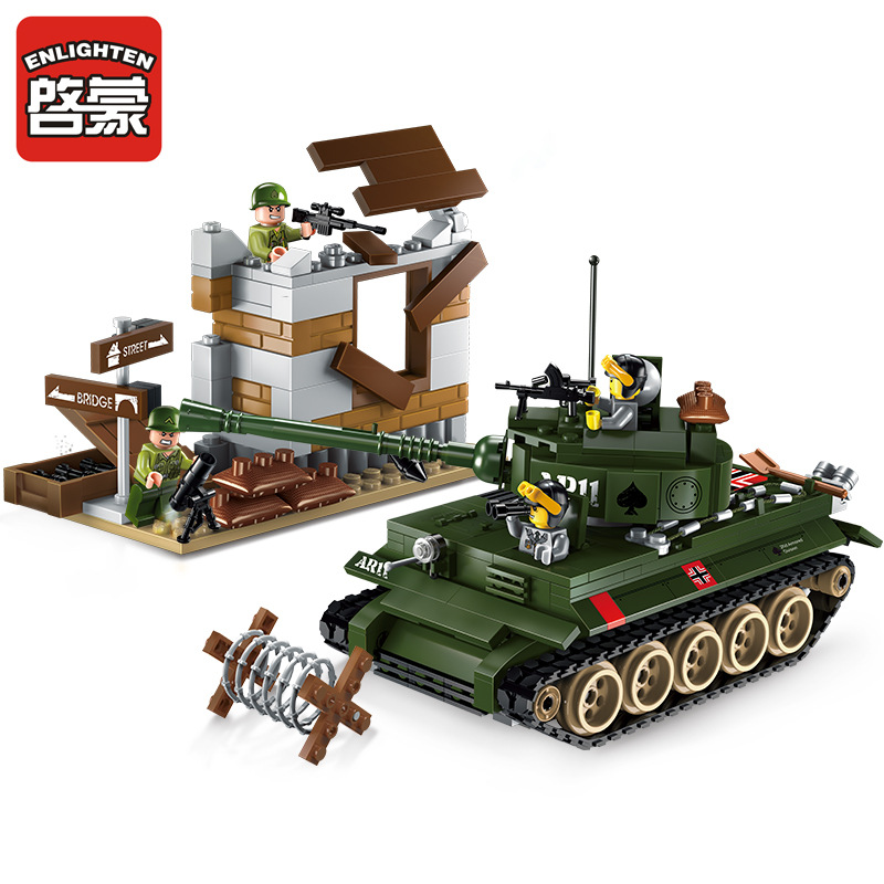 ENLIGHTEN City Military War Tiger tank Counterattack exercises Building Blocks Sets Bricks Model Kids Toys Compatible Legoe 128pcs military field legion army tank educational bricks kids building blocks toys for boys children enlighten gift k2680 23030