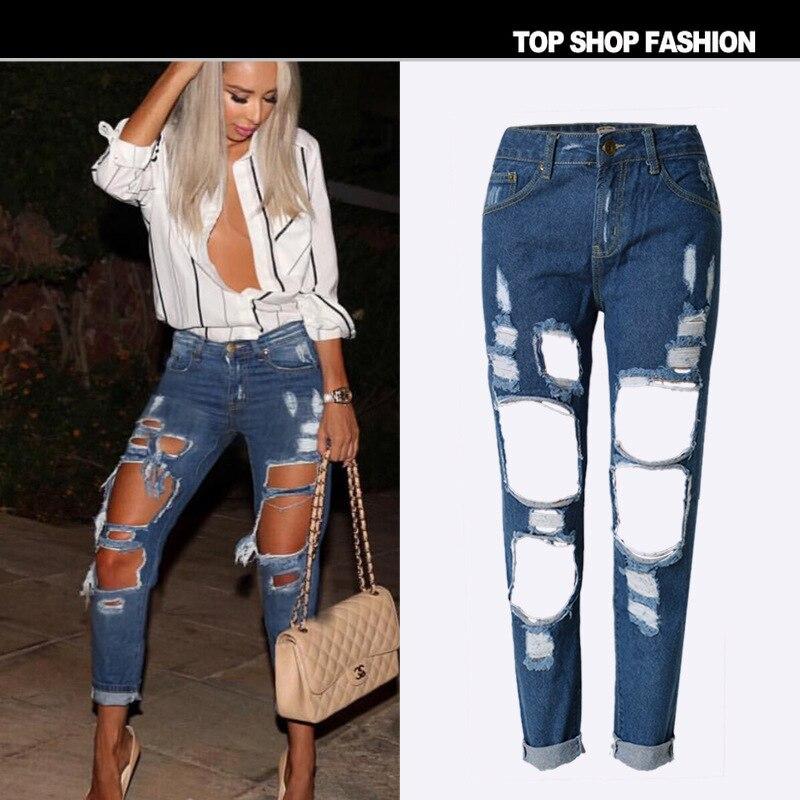 2019 Fashion Summer Big Hole Jeans Women Boy Friend Style Ripped Jean Cotton Denim Pants 1743