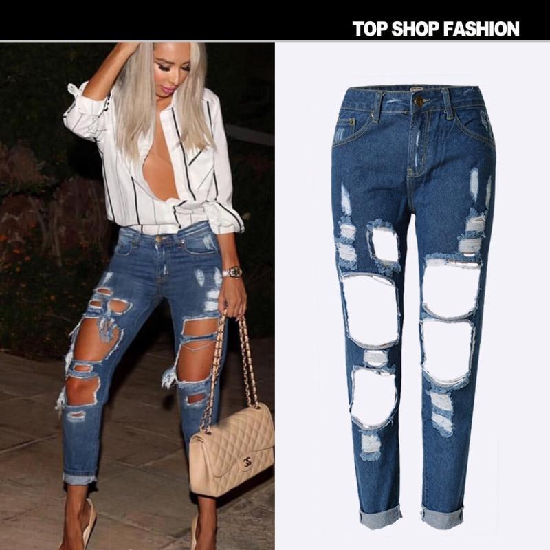 Bringbring 2017 Fashion Summer Big Hole Jeans Women Boy Friend Style Ripped Jean Cotton Denim