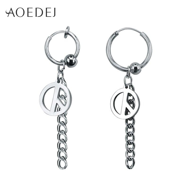 aoedej peace hoop earrings for men women long tassel