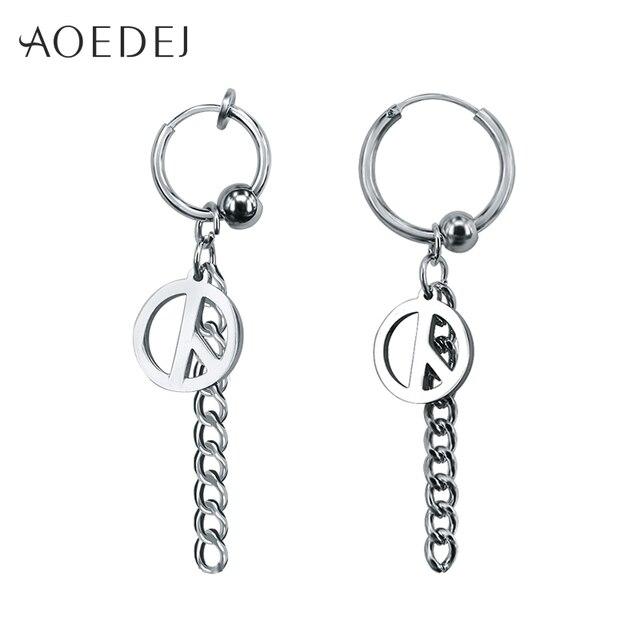 Aoedej Peace Hoop Earrings For Men Women Long Tel Earings Fashion Jewelry Hanging Non Piercing