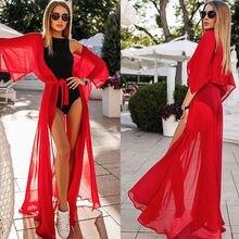 Летний женский купальник бикини, сексуальный пляжный купальник, шифоновое длинное платье, элегантное однотонное пляжное купальное платье-туника