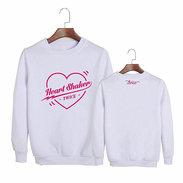 US $13 99 |Aliexpress com : Buy New Kpop Twice Merry and Happy Heart Shaker  the Same Korean Version Women Hoodie Pullover Long Sleeve Loose Round Neck