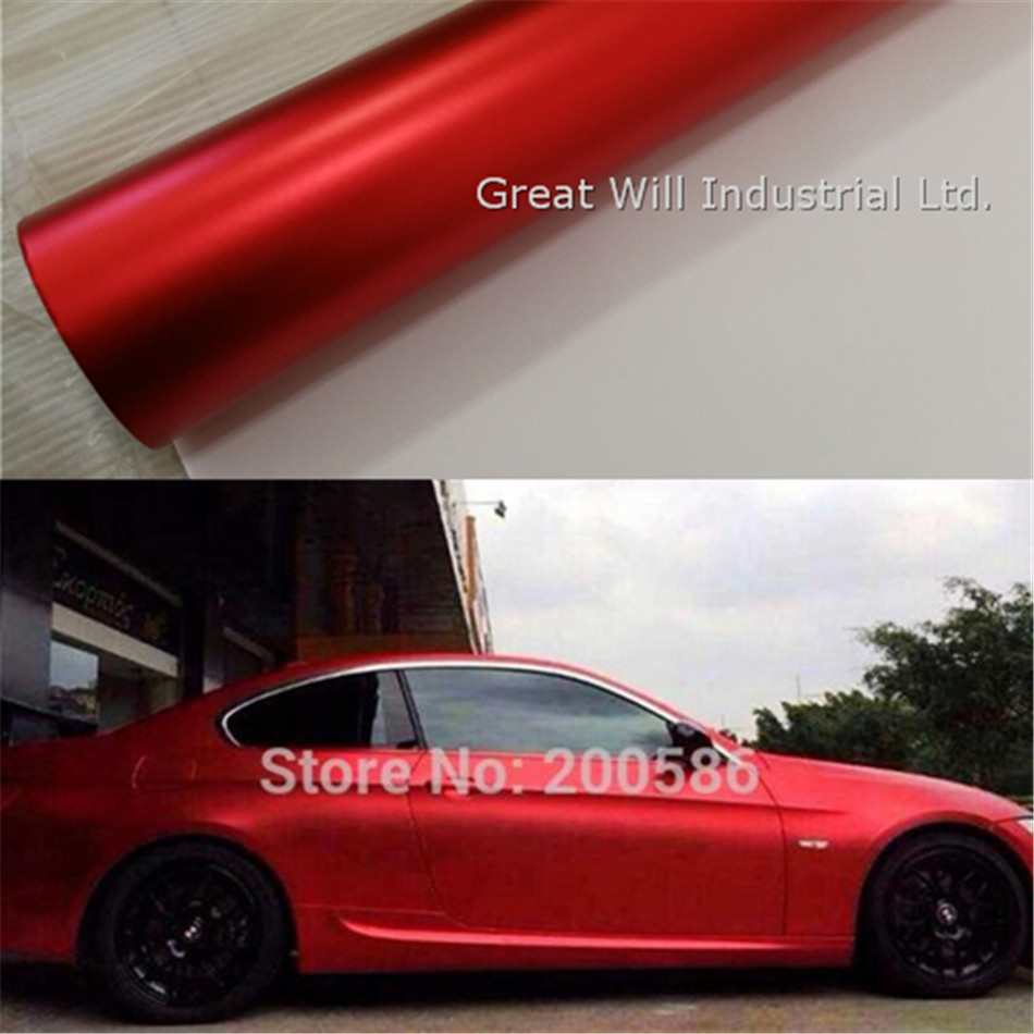 Red Matte Chrome Vinyl Wrap Film Red Satin Chrome Car Wrap Covering Foil With Air Bubble Free Fame Will 1.52x20m/5x67ft/Roll