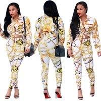 Women S Long Sleeve Baroque Printed Jacket Long Pant Suit Fashion Set Autumn Designer 2 Pieces