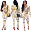 Women S Long Sleeve Baroque Printed Jacket Long Pant Suit Fashion Set Autumn Designer 2 Pieces