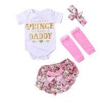 4Pcs Set Baby Clothing Sets Girls Cotton Rose Flower Summer Baby Bodysuit Short Headwear Infant Newborn