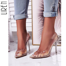 Liren 2019 Summer New Fashion PVC Woman Transparent Sandals Thin High Heels Shoes Pointed Toe Pumps Slip on Solid Apricot 35-42