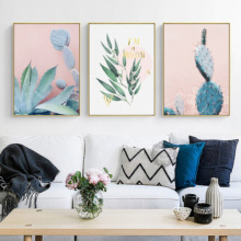 Nordic green plant decoration painting pink home model room painting cactus leaves hanging wall painting plant leaves in the vase printed tassel wall hanging painting