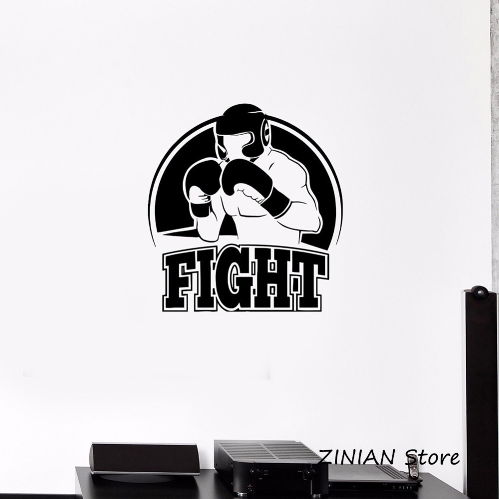 Boxing Fight Athlete Boxer Vinyl Sticker Home Decor Living Room Boys Room Decorate Removable Extreme Sports Wall Decals Z086 ...