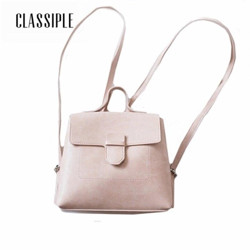 Sacs à dos sacs à dos féminins PU cuir solide rose Vintage Texture sac à dos femmes sacs d'école pour filles sacs à dos pour dames