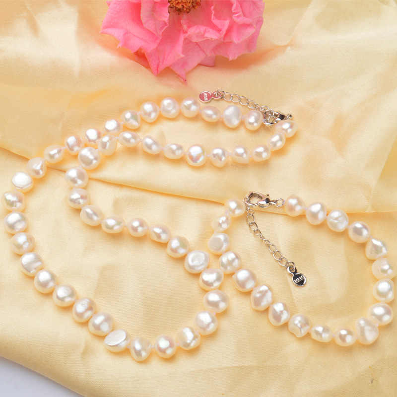 ASHIQI White 9-10mm Natural pearl Jewelry Sets Real Freshwater pearl Necklace Handmade Bracelet for women New Arrivals