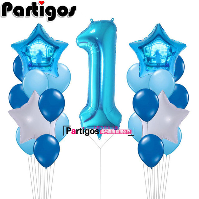 21pcs 40inch Number 1 Foil Balloons Baby Shower 1st Birthday Party Decor Supplies Boy Girl Balls 22g Latex Helium Globos