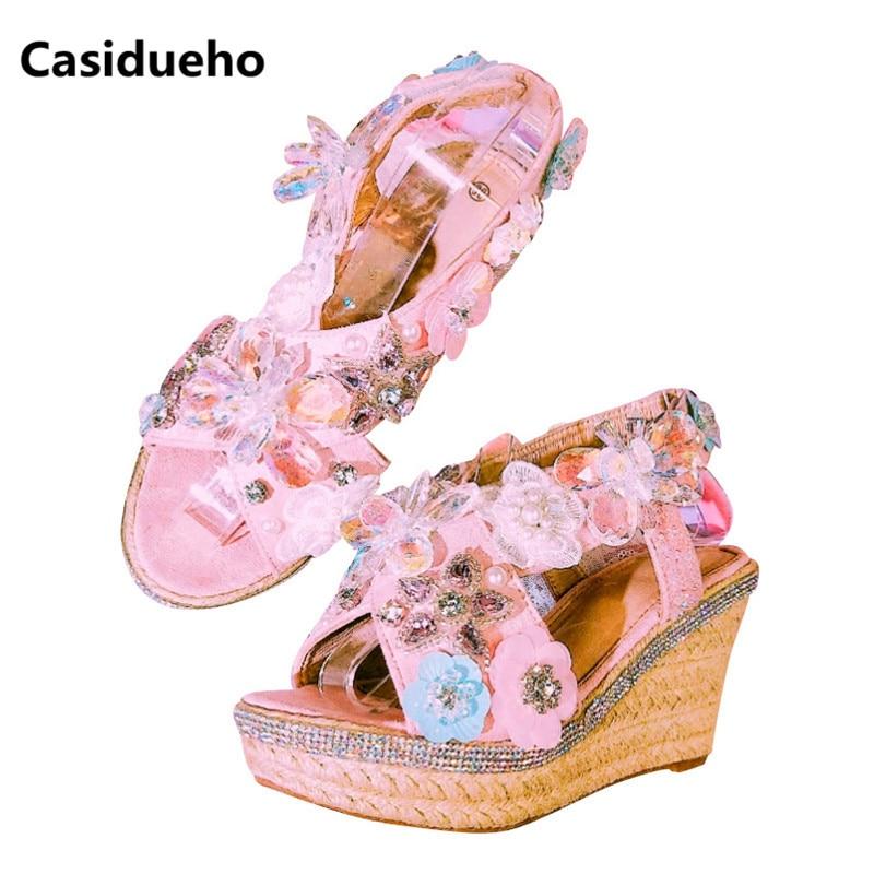 Casidueho Women Platform Sandals Rhinestone High Heels Wedge Shoes Woman Sexy Peep Toe Pumps Handmade Big Size Gladiator Sandals 2018 fashion women pumps sexy open toe heels sandals woman sandals thick with women shoes high heels s144