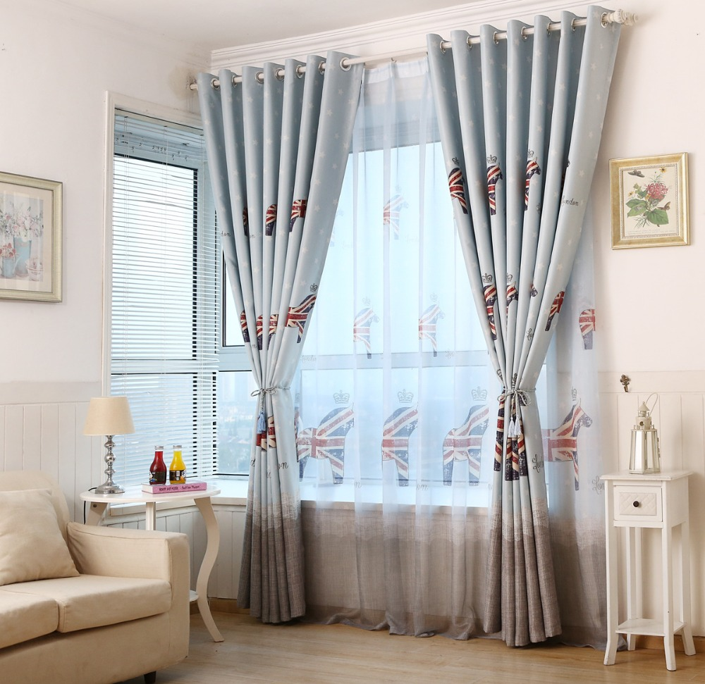 Light Blue British Style Children S Curtains Bedroom Windows And Floor To Ceiling Blackout Fabric Mediterranean In From Home