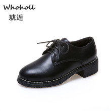 Whoholl 2019 Patent Leather Shoes for Ladies Women Low Boots Working Army Boot Zapatos Ankle Outdoor Big Size 35-40