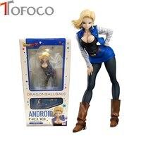 TOFOCO 19cm Dragon Ball Sexy Android 18 Lazuli Action Figure Toys Collection Doll Christmas Gift