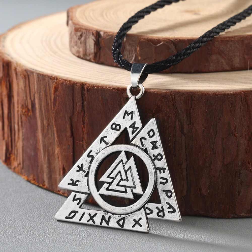Chengxun colar masculino viking odin símbolo capacete horror em runa trançado borre nó nórdico celtic único pingente punk presente
