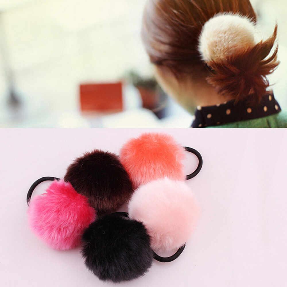 Summer New Fashion Korea Style hair accessories for women 1PX Rabbit Fur Hair Band Elastic Hair Bobble Pony Tail Holder #40-60