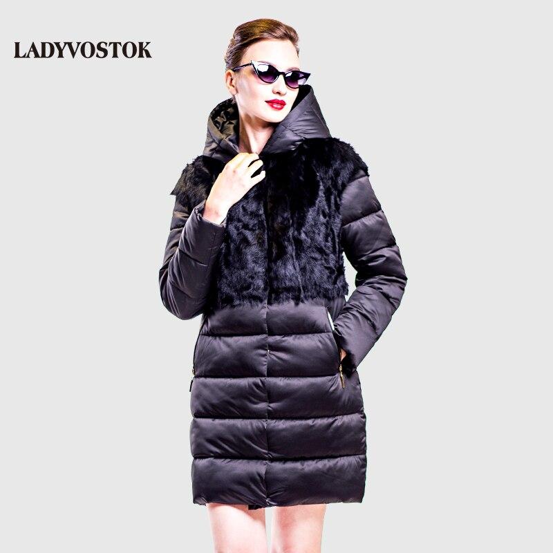 Vladivostok con capucha capa ocasional abajo mujer abrigo de invierno chaqueta de lana larga Handy extraíble piel real 16-758A