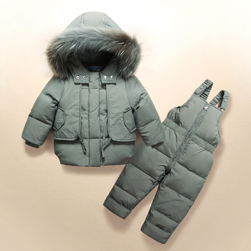 Russian Winter Kids Snowsuit Windproof Thick Warm Baby Boys Skiing Suits Duck Down Real Fur Collar Outwear Coat+Jumpsuit Pants цена