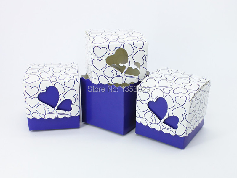 100pcs Royal Blue Wedding Candy Box Sweet Heart Favors And Gifts Souvenirs Casamento Decoration Mariage In Gift Bags Wring Supplies