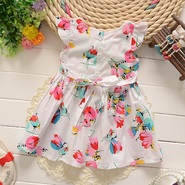 Bibicola Childern Summer Cotton Dress 2018 Clothes Baby S Colorful Flower Outfits Kids Party Princess Dresses
