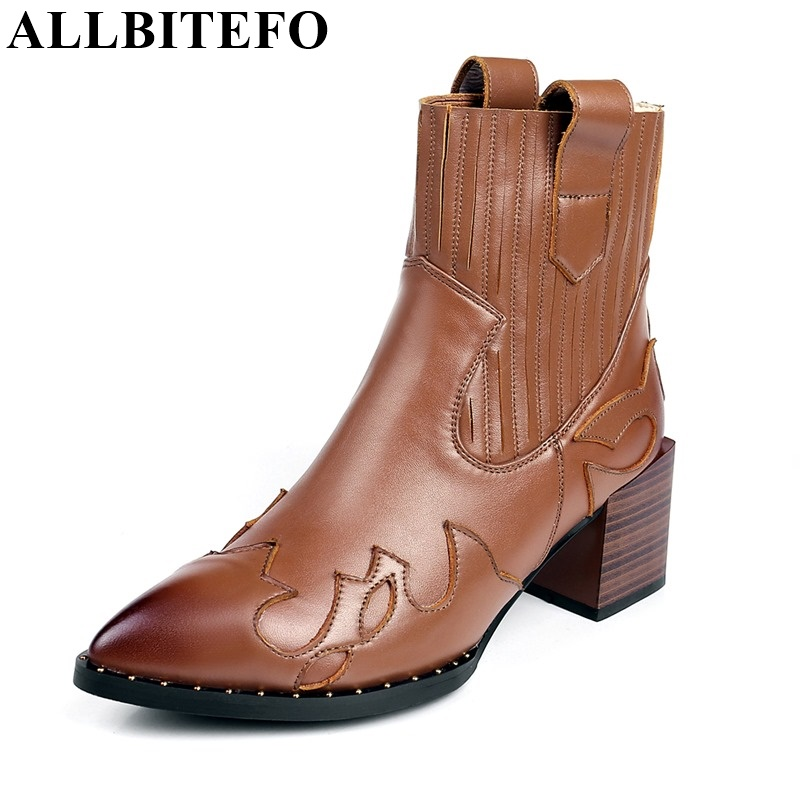 ФОТО ALLBITEFO thick heel genuine leather rivets ankle boots fashion pointed toe Elastic band short women boots winter snow boots