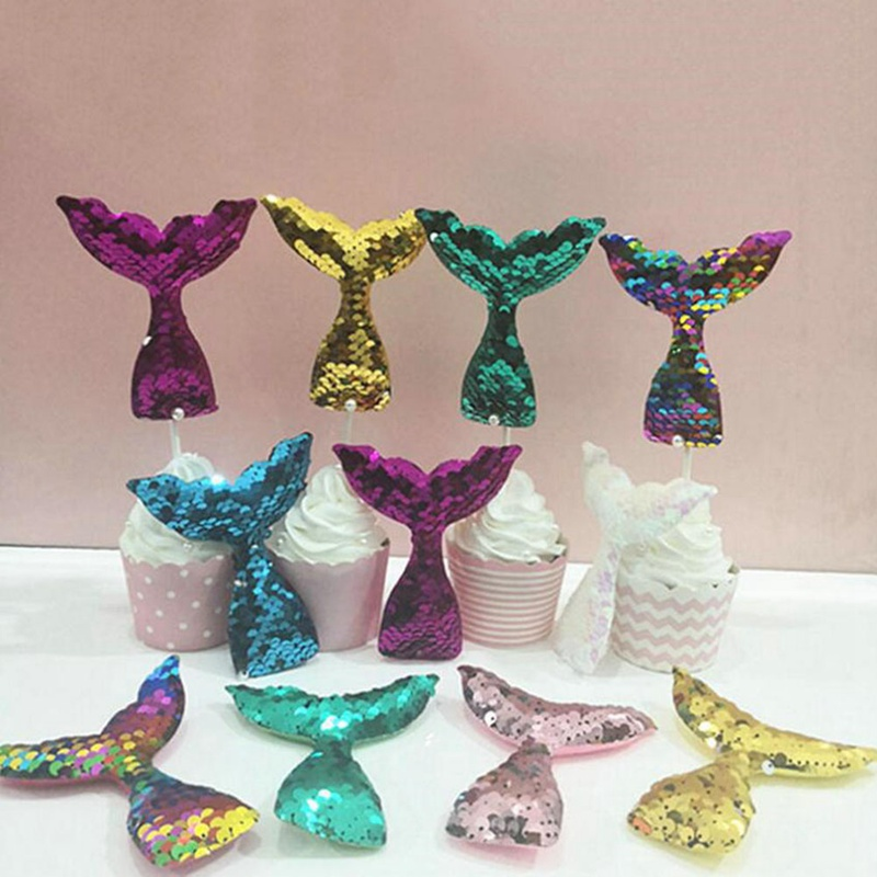 Glitter Mermaid Tail Cake Insert Sequins Mermaid Tail Cake Decoration Cake Insert Happy Birthday Baby Shower Party Decorations