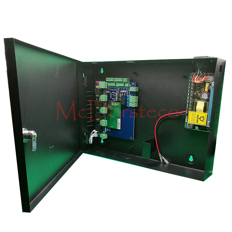 One Door Access Panel +12V5A Power Supply +Metal Protetive Box High Quality TCP/IP RFID Access Control System with Alarm Panel c3 100 single door high quality access control system one door two way access control panel 1 pc rfid reader 1 pc exit button