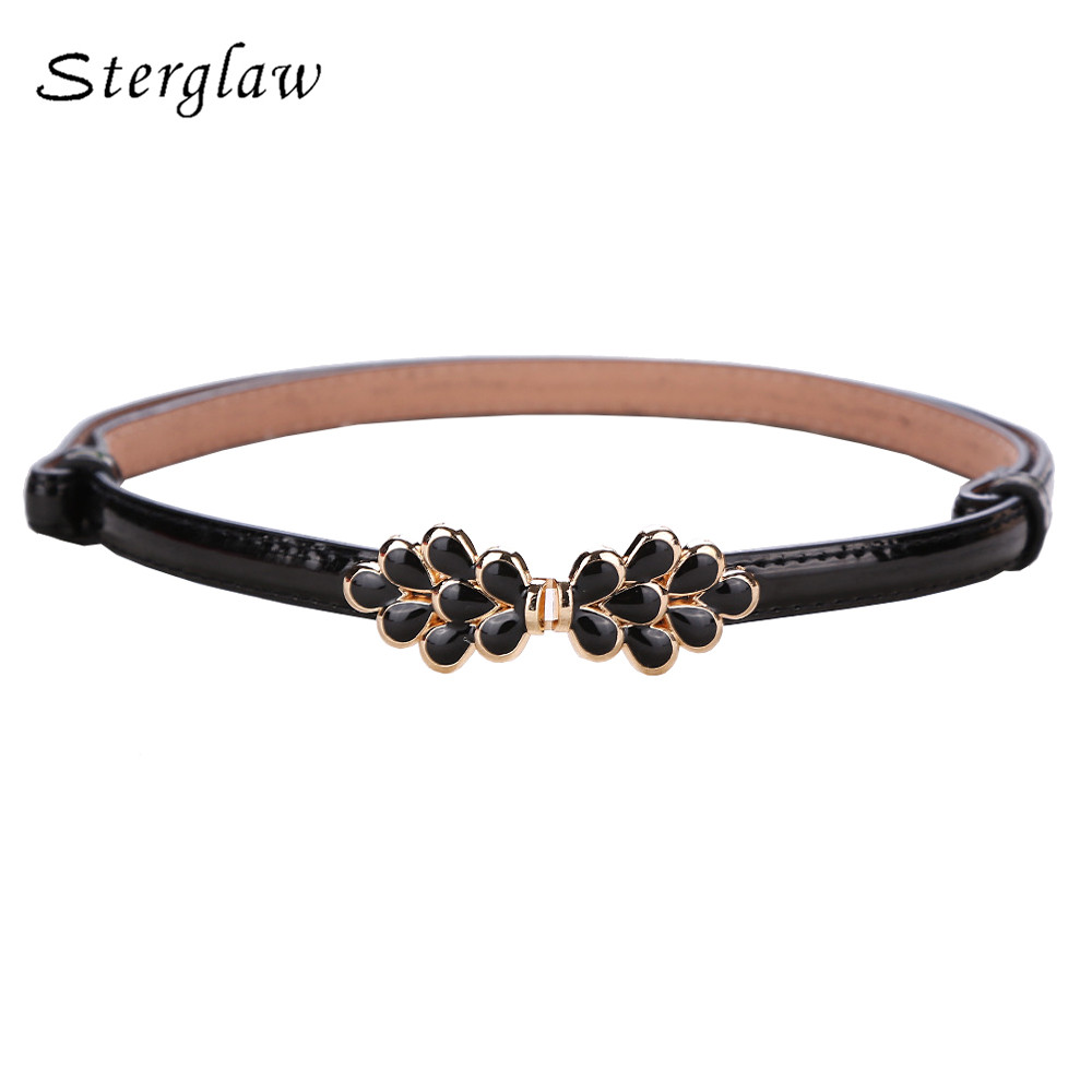 105cm Summer New Arrive Black Maple Leaves On The Buckle Ladies Thin Belts For Women Dresses Modeling Belt Female Cinture D112