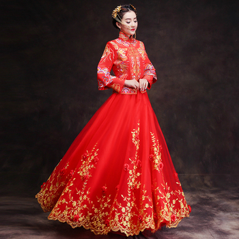 Autumn Traditional Show bride dress clothes long-sleeve chinese style Wedding cheongsam evening dress red vintage dragon gown new cheongsam dress long red lace evening dresses vintage elegant lace lady chinese traditional cheongsam china style wedding
