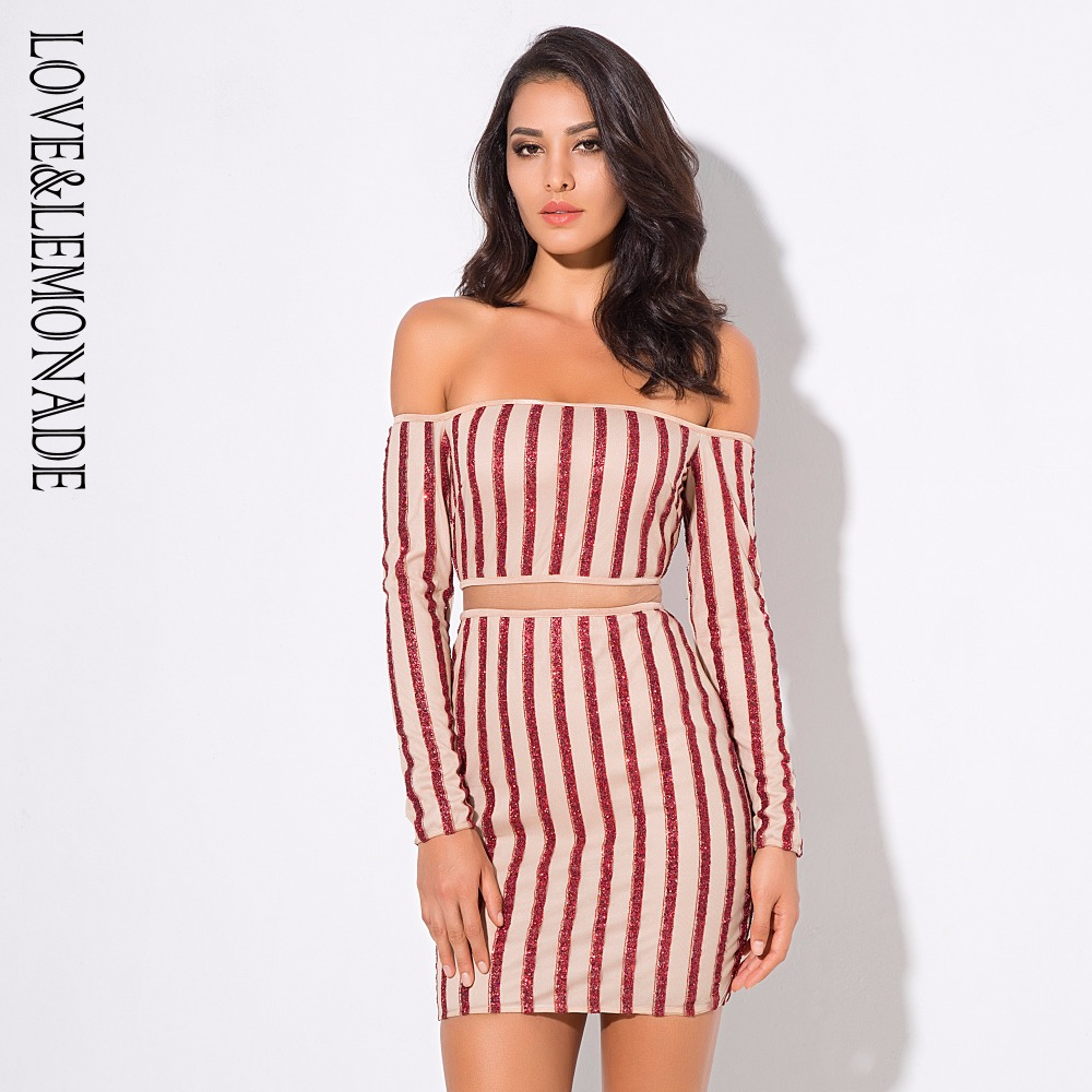 Red   Nude Color Neck Mesh Stripes Stitching Dress 3 COLORS LM0691-in  Dresses from Women s Clothing on Aliexpress.com  94a0e084cb70
