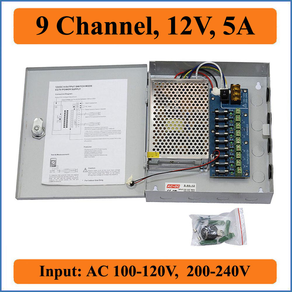 9CH Port DC12V 5A CCTV Camera Power Box Adaptateur Alimentation à découpage Boîte Distribution 9 canaux D'entrée AC 100- 240 v à DC 12 v