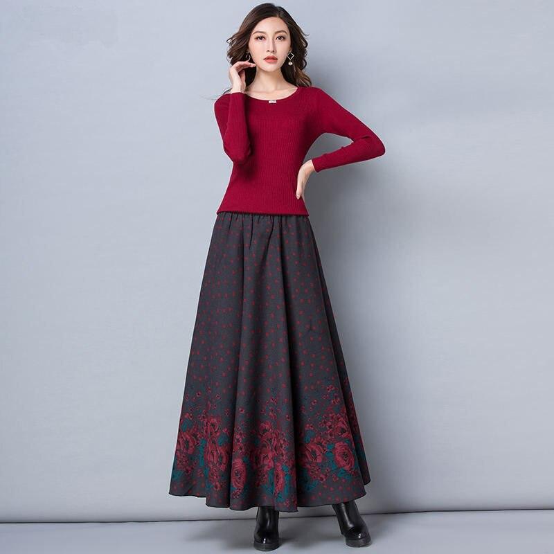 Caliente Faldas Red Larga Cintura Q938 Saias Invierno Espesar Falda Streetwear Vintage Alta Otoño blue Dark Casual Floral En 5axEqR8