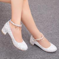 sweet lace med heels shoes woman princess crystal white wedding shoes diamonds thick leather luxury shoes small big size 32 43
