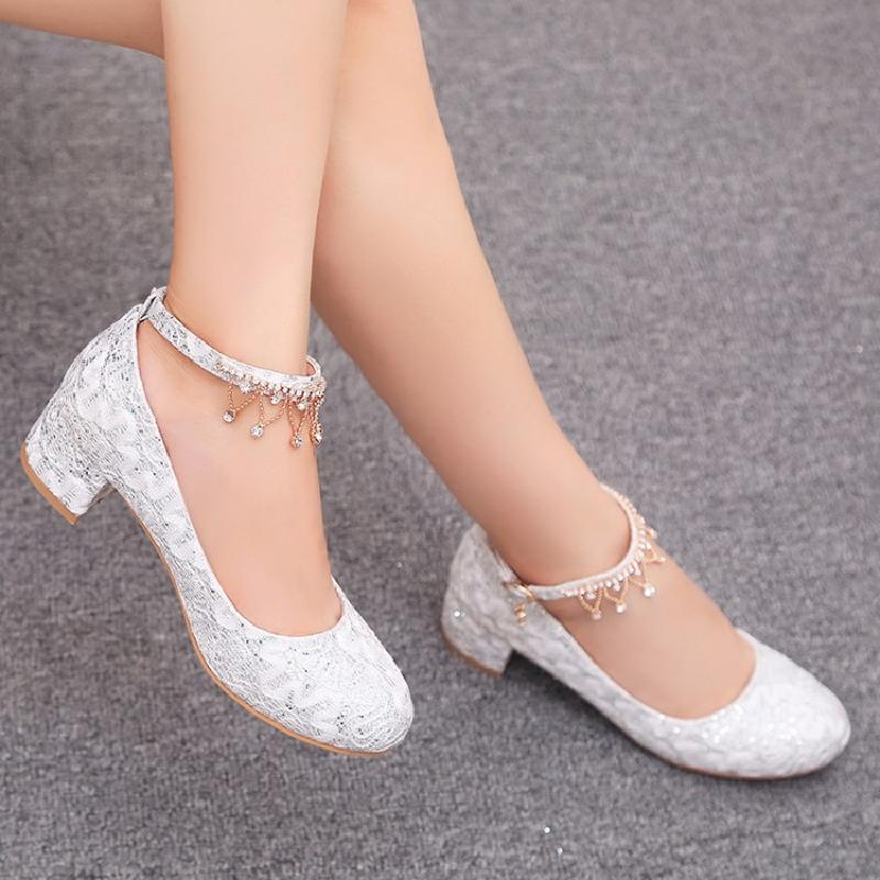 sweet lace med heels shoes woman princess crystal white wedding shoes diamonds thick leather luxury shoes small big size 32 - 43sweet lace med heels shoes woman princess crystal white wedding shoes diamonds thick leather luxury shoes small big size 32 - 43
