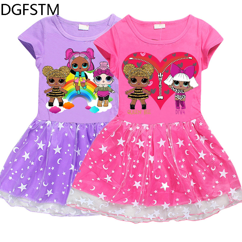 Lol Surprise Dolls Summer Princess Dress for Girls 2018 Baby Girl Children Dresses Kids Birthday Evening Party Children Clothing new summer pink children dresses for girls kids formal wear princess dress for baby girl 3 8 year birthday party dress